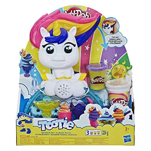 Play-Doh E5376EU4 Buntes Einhorn Softeis-Set mit 3, darunter eine Dose zweifarbige Strudelknete