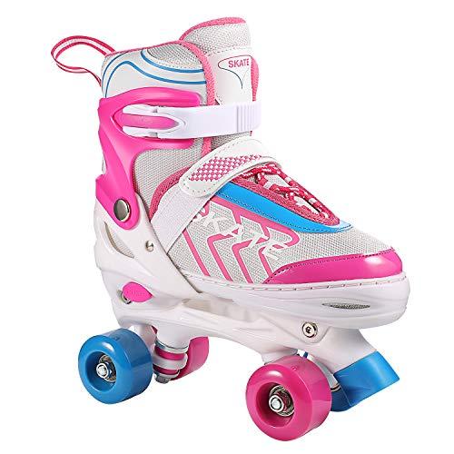Hikole Rollschuhe für Mädchen Kinder, verstellbare Rollschuhe mit 8 PU-Rädern für Anfänger Frauen...