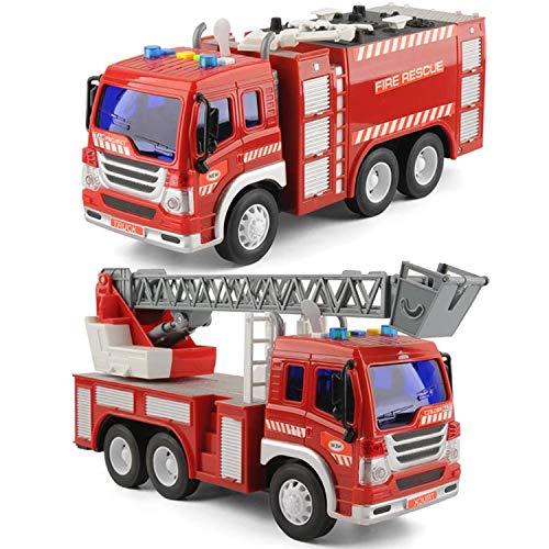 GizmoVine 2 Stücke Auto Spielzeug für 2 Jahre Alten Jungen Feuerwehrauto Mit Lichtern und Tönen, Früh...