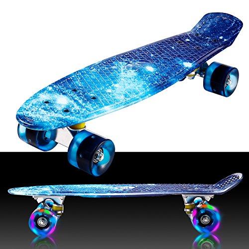 55cm/22 Mini Cruiser Board Retro Skateboard Komplettboard mit Leuchtrollen für Jugendliche Kinder und...