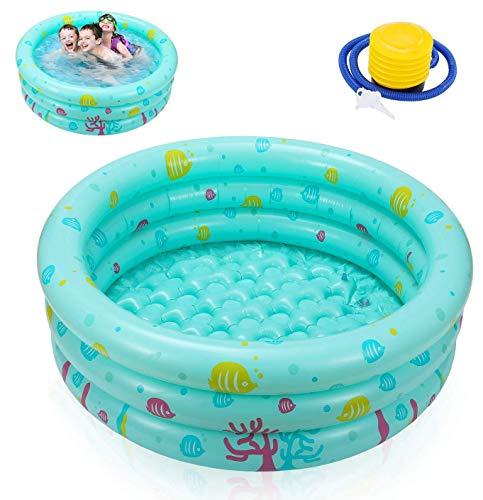 Ucradle Planschbecken Babypool Kinderpool , Ø100x27cm Aufblasbarem Baby Pool Rund Schwimmbecken Kinder...