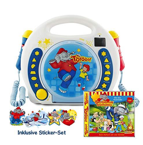 X4-TECH Benjamin Blümchen - Kinder CD Player USB-Stick, SD-Karte, MP3-CD - 2x Mikrofone Karaoke inkl...