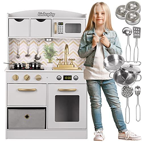 Kinderplay Kinderküche, Spielküche Holz - Küchenspielzeug Weiß und Gold mit Zubehör, Kinderküche...
