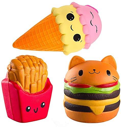 ZhengYue 3 Stück Kawaii Squishy Spielzeug - Eiscreme Hamburger Fries Squeeze Stress Squishies Langsam...