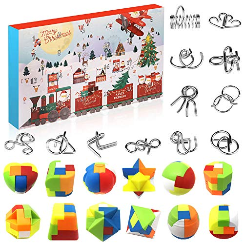 Amelia Knobelspiele Adventskalender 2020, 24 Logisches Spielzeug, Metallpuzzle Plastikpuzzle Set,...