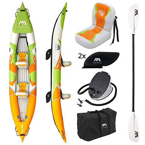 Aquamarina Unisex– Erwachsene 2 Posti Kayak Betta-412 Kajak, Orange/Grün/Weiß, Uni