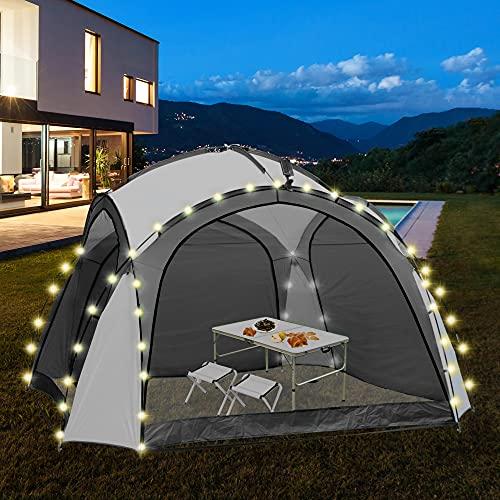 ML-Design LED Event Pavillon inkl. Beleuchtung mit Solarmodul und Fernbedienung, Seitenwände,...