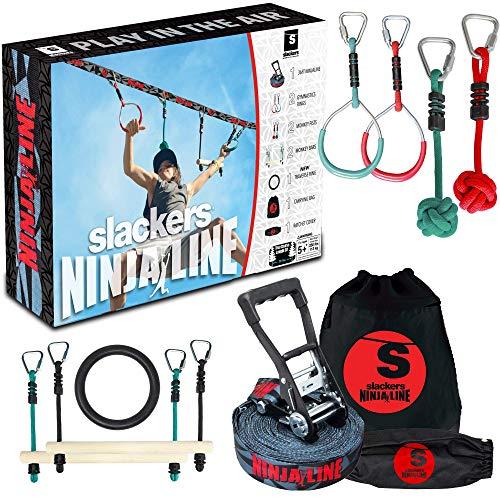 Slackers USA Ninja Line Starter Set 2021, 11 Meter Hangelparcour, tolles 11-teiliges Komplettset, auch...