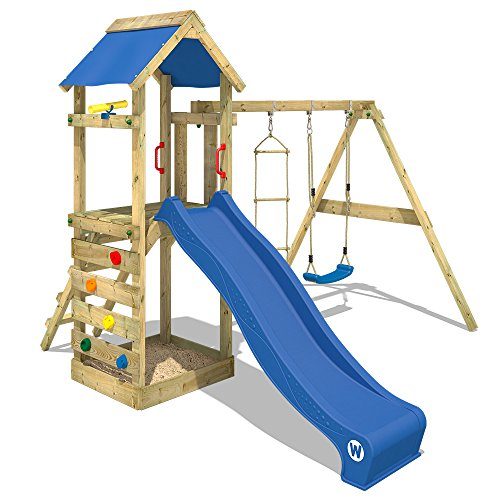 WICKEY Spielturm FreeFlyer - Klettergerüst mit Schaukel, Strickleiter, Sandkasten, Kletterwand und...