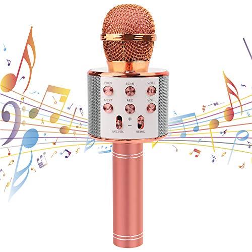 Karaoke Mikrofon Drahtloses Bluetooth Mikrofon für Kinder Bluetooth Mikrophon mit Lautsprecher Tragbares...