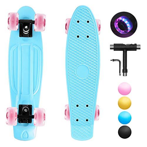 shownicer Skateboard Kinder Komplettboard Mini Cruiser Skate Penny Board 22'/57cm Miniboard Kickboard...