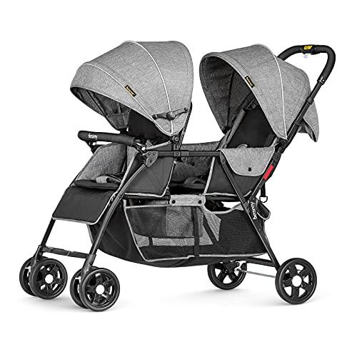 Besrey Geschwisterwagen Doppel-Kinderwagen für Zwillinge oder Geschwister. Mit Regenschutz. Von Geburt...
