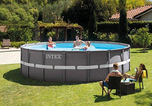Intex Ultra Rondo Frame Pool Set, 19156 liters, Grau, Durchmesser 488 x 122 cm