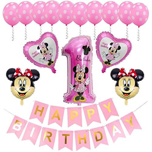 ZSWQ Ballon-Set Minnie Mouse 1 Jahr Minnie Mouse Themed Geburtstag Dekorationen Party Kindergeburtstag,...