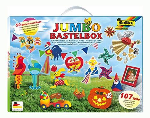 folia 50915/1 - Jumbo Bastelkoffer mit 107 Teilen, riesige Auswahl an Bastelmaterialien für Kinder und...