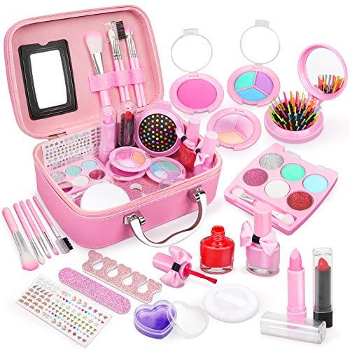 Dreamon Kinderschminke mädchen, Waschbar Make up Spielzeug für Mädchen Kinder Nagellacke mit Koffer...