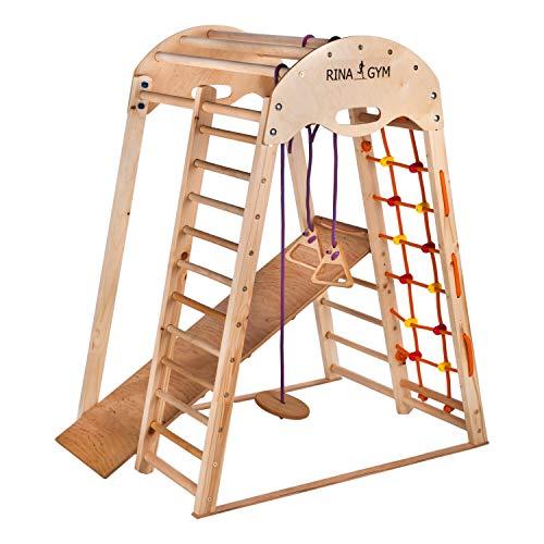 RINAGYM Kletterdreieck - Indoor-Spielplatz aus Holz für Kinder - Kletternetz, schwedische Leiter, Ringe,...
