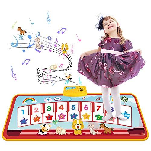 Tecboss Piano Matte, Musikmatte KinderKlaviermatte mit 8 Instrumenten Piano für Babys Kleinkind Jungen...