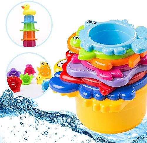 OleOletOy Kinder Badewannenspielzeug Set - 8X Stapelbecher mit Einer Badeente | 2 in 1: Wasser/Sand...