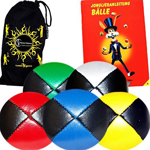 Jonglierbälle 5er Set - Profi Beanbag Bälle aus Glattleder (Leather) + Mr Babache Bälle-Booklet (in...