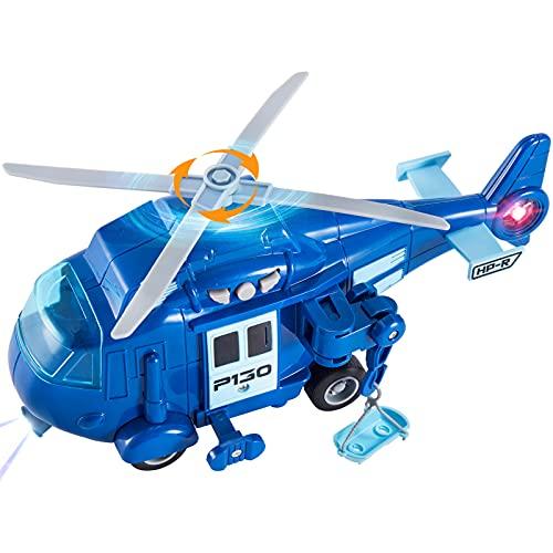 HERSITY Hubschrauber Spielzeug Kinder, Helikopter mit Licht und Sound, Drehpropeller, 1:20 Flugzeug Blau...