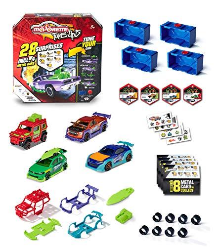 Majorette – Tune Ups Series 1, 4er Set mit 28 Überraschungen, Spielzeugautos aus Metall zum Tunen, 4...