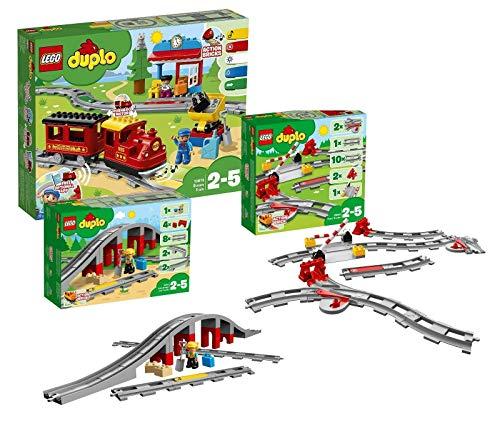 LEGO Duplo Dampfeisenbahn Set: 10874 Dampfeisenbahn + 10872 Eisenbahnbrücke mit Schienen + 10882...