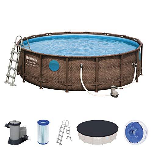 Bestway Power Steel Swim Vista 488x122 cm, Frame Pool rund mit stabilem Stahlrahmen im Komplett-Set,...
