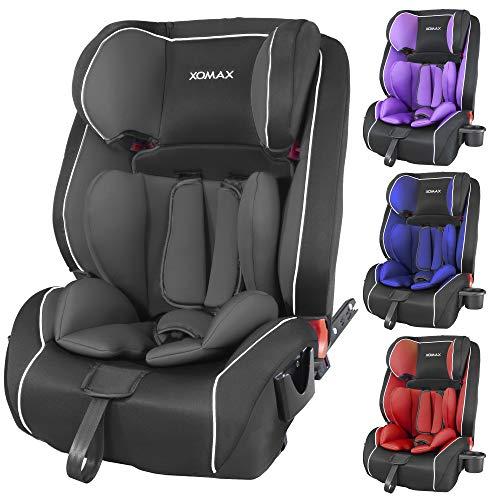 XOMAX HQ668 Kindersitz 9-36kg ISOFIX mit Flaschenhalter I mitwachsend: 1-12 Jahre, Gruppe 1/2/3 I...