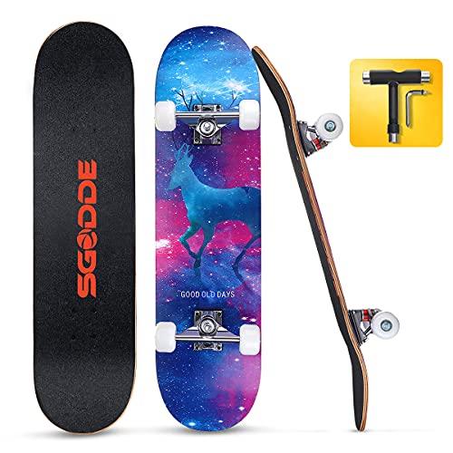 SGODDE Skateboard 31x8 Zoll Komplettboard 80x20cm Holzboard mit ABEC-7 Kugellager für...