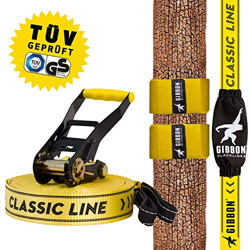 Gibbon Slacklines Classic Line mit Tree Pro, Gelb, 15 Meter (12,5m Band + 2,5m Ratschenband),inklusive...
