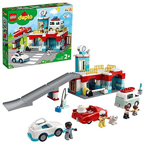 LEGO 10948 DUPLO Parkhaus mit Autowaschanlage, Spielzeugautos, Parkhaus Spielzeug für Kinder ab 2 Jahre...