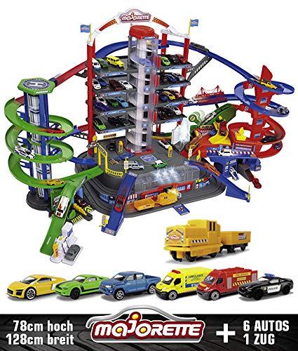 Majorette 212059989 Super City Garage motorisierte Bahn für Modellautos mit Parkplätzen und Eisenbahn...