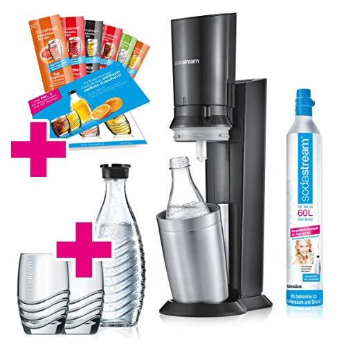 SodaStream Crystal 2.0 Wassersprudler-Set Promopack mit CO2-Zylinder, 2x Glaskaraffen, 2x Trinkgläsern,...