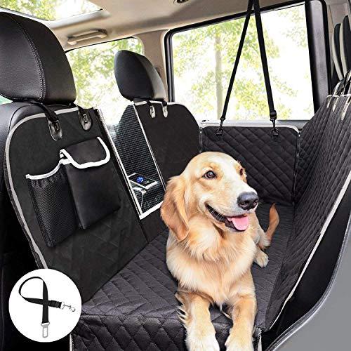 pecute Hundedecke für Auto Rükbank mit Mesh Fenster,Kofferraumdecke für Hunde (146x136cm) Hand...