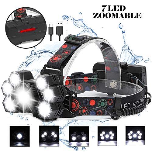 LED Stirnlampe Kopflampe USB Wiederaufladbar mit 5 Modus IPX4 Wasserdicht Leichtgewichts Zoombar...