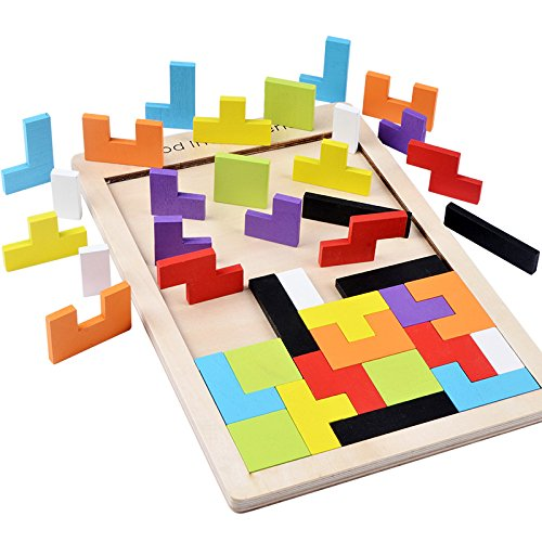 B&Julian ® Holzpuzzle Tetris Tangram Kinder Steckspiel Legespiel bunt Holz geometrisch Formen und Farben...