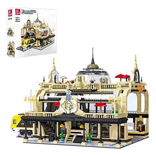 ReallyPow Bahnhof Bausteine Modell mit Minifiguren, The Train Station Modular Gebäude Moc Bahnhof...