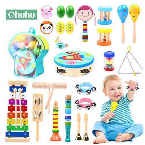 Ohuhu 23 Stück Musikinstrumente Musical Instruments Set, Spielzeug von Holz Percussion Schlagzeug...