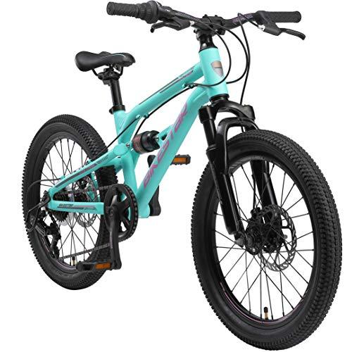 BIKESTAR Kinder Fahrrad Aluminium Fully Mountainbike 7 Gang Shimano, Scheibenbremse ab 6 Jahre | 20 Zoll...