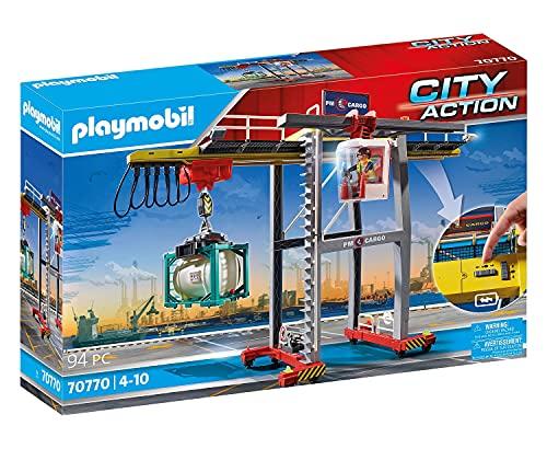 PLAYMOBIL City Action 70770 Portalkran inklusive Containern, Steuermodul und dreh- und verschiebbarer...