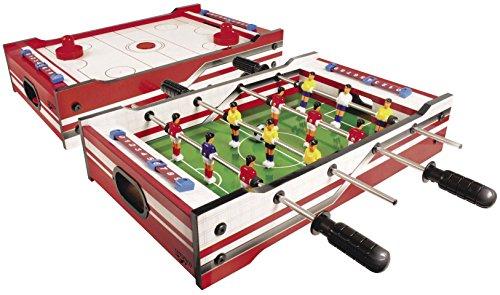 Carromco 6002 Multi-Spiel 2in1 – Multigame Spieltisch mit 2 Tischspielen, Tischhockey mit 2 Pushern und...