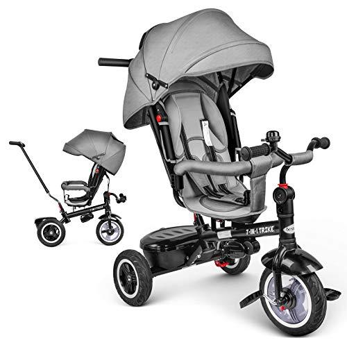 besrey Dreirad 7-in-1 Kinder Fahrrad mit 360° Drehsitz + Luftkammerrad + Liegefunktion ab 9 Monate bis 6...