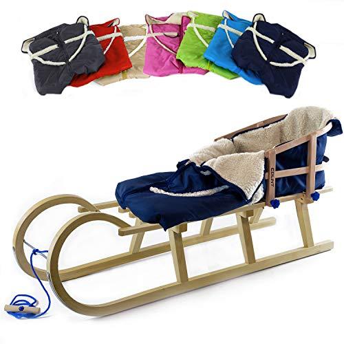 Holzfee Baby-Schlitten Hörnerschlitten 120 cm mit Lehne + Leine + Fußsack (Qualität) Farbauswahl...