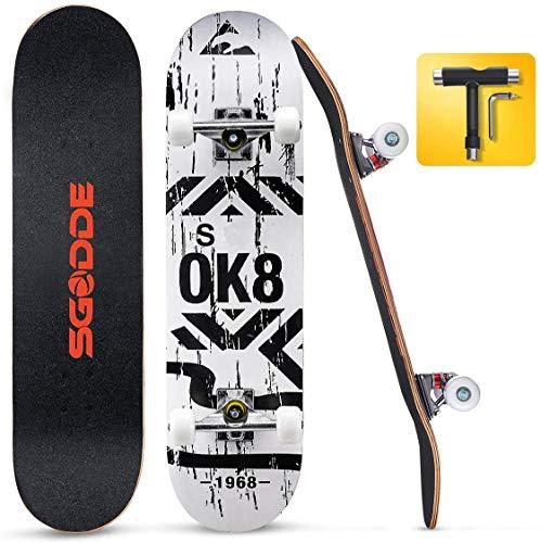 SGODDE Skateboard Komplettboard 80x20cm Holzboard mit ABEC-7 Kugellager für Anfänger,31 Zoll 7-lagigem...