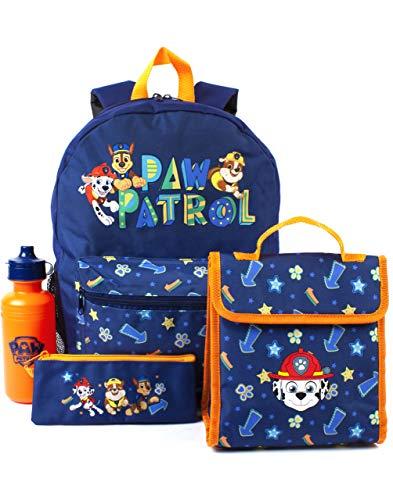 Paw Patrol Rucksack Schule Lunchtasche Bleistiftkoffer Flasche Set blau 4 Stück Einheitsgröße