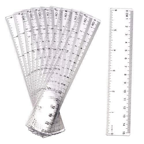LUTER 10 Stück 15cm Lineal Plastik Lineal Transparentes Lineal Messgerät mit Zoll und Metrisch für...