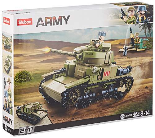 Sluban Klemmbausteine M38-B0711 SL95581, WWII - Mittlerer Ital. Panzer (463 Teile) [B0711], Spielset ,...