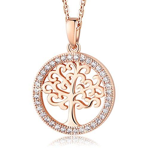 MEGA CREATIVE JEWELRY Damen Kette Rosegold Lebensbaum Halskette aus 925 Sterling Silber Anhänger mit...