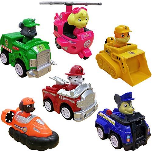 WENTS Paw Patrol Spielzeug Geschenkset mit sechs Metall Fahrzeugen Chases Polizeiwagen, Marshalls...